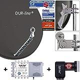 DUR-line 8 Teilnehmer Set - Qualitäts-Alu-Satelliten-Komplettanlage - Select 85cm/90cm...