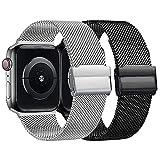 Coholl 2Pack Correa Compatible con Apple Watch 38mm 40mm 42mm 44mm,Pulsera de Metal de Acero Inoxidable Correa para iWatch Series SE 6 5 4 3 2 1,Hombres y Mujer(Black+Sliver,42mm/44mm)