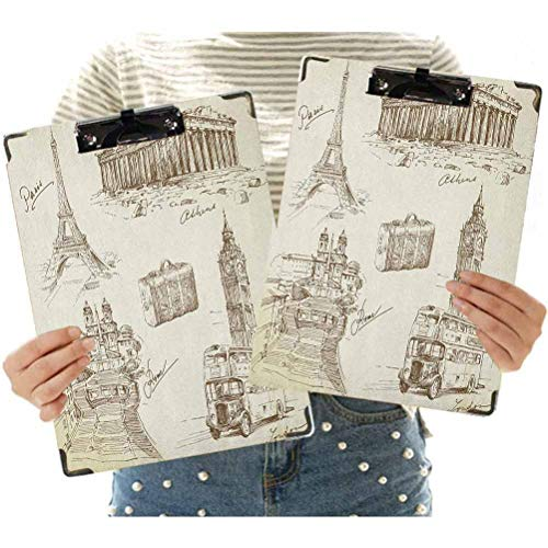 2 Pcs Hardboard Office Clipboard,Sketch Art Collection of Travel Over European Landmarks and Vintage Style Suitcase Decorative Clipboard for School, Office, Nurse, Art, Business