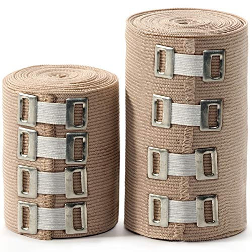 Premium Elastic Bandage Wrap - 2 Pack + 4 Extra Clips - XL Durable Compression Bandage (1X - 3 inch, 1X - 4 inch Roll) Stretches up to 45ft in Length