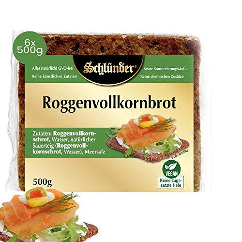 Schlünder Roggenvollkornbrot - klassisches Vollkornbrot aus Roggen, 100% natürlich & vegan, reich an Ballaststoffen & komplexen Kohlenhydraten, Bäckerbrot made in Germany, 6x500g