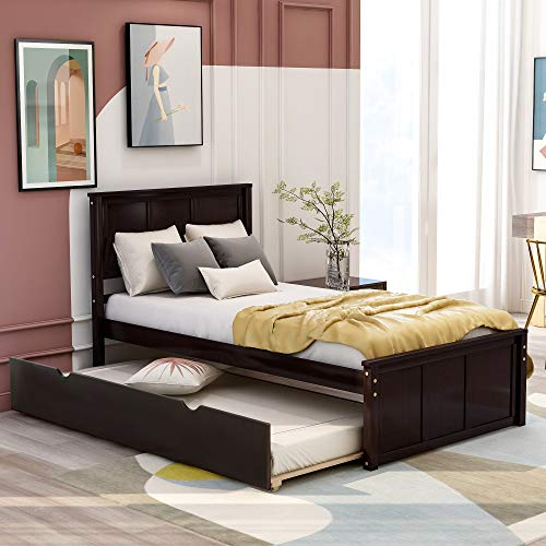 Twin Bed with Trundle, Wood Platform Bed with Headboard and Footboard, No Box Spring Needed (Espresso)