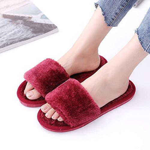 MQQM Hausschuhe Winter Warmfaux Pelz Slipper,Slipper und Warm Fashion Slipper, Indoor Open Toe Chips-red_38-39,Kuschelige rutschfeste Pantoffeln