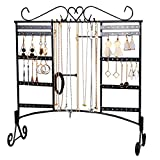 Jewelry Organizer Stand with Removable Foot Large Capacity Jewelry Stand with 80 Holes/10 Hooks and 2 Crossbars