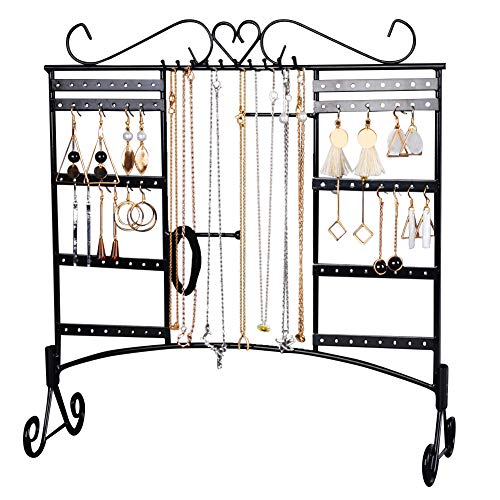 Jewelry Organizer Stand Wall-Mounted Earring Holder Necklace Display Large Capacity with Removable Foot Bracelets Hanger Rack (Black)