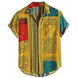 Xmiral Camicie da Uomo Camicie Casual Larghe a Maniche Corte con Colletto rovesciato Stampato Etnico Vintage ( XXL,81Giallo )