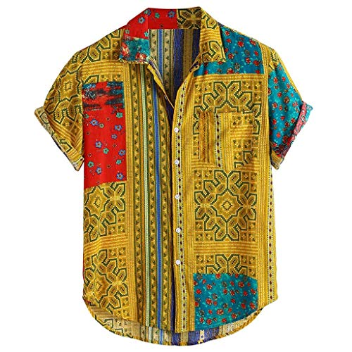 Hemden Männer Vintage Ethnic Printed Turn Down Kragen Kurzarm Loose Casual Shirts (L,1Gelb)