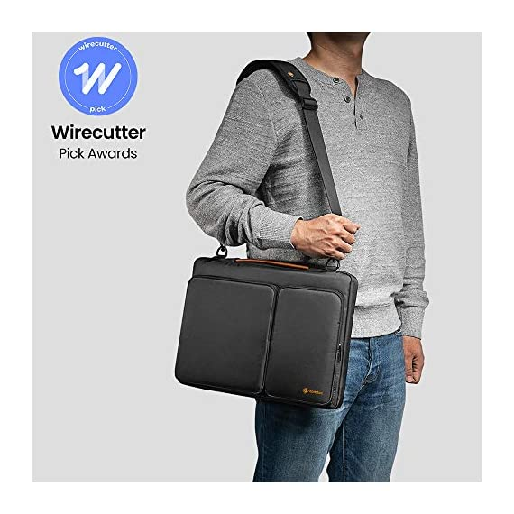 """A42-13 15 inch 2 wirecutter pick awards: standing out by incredible carry versatility and outstanding quality, our a42 series were appraised """"a great laptop bag"""" by wirecutter (a new york times company) superior protection: tomato laptop sleeve features two cornerarmors at the bottom corners to protect your laptop/tablet from drops and bumps during potential accident like the car airbag; soft fluffy interior and waterproof material exterior offers your device 360° protection from scratch, knocks, bumps or accidental dropping roomy space: features a main compartment for laptop or tablet, two sealed pockets to easily store and transport accessories such as your charger, adapter, mouse, cables, phone, wallet, etc. You will always be able to find what you need, when you need it"""