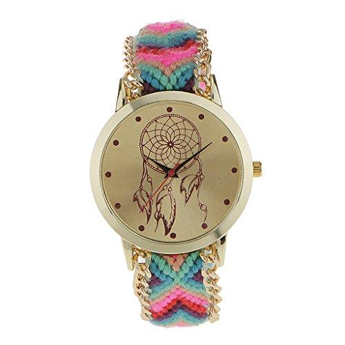 Generic Frauen Mehrfarben Weben Runden Armbanduhr Uhr