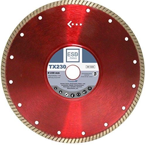 Diamantdoorslijpschijf TX230 natuursteen Ø 230 mm - 22,23 mm boring 7 mm segmenthoogte diamantdoorslijpschijf voor natuursteen, klinkers (hard), graniet (hard), kunststeen, basalt, voormuursteen, riem, leisteen, tegels, wastton - ESD TOOLS