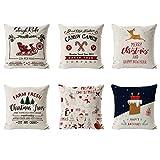 6 Piezas Fundas Navideñas para Cojines,Fundas Cojin Serie De Navidad,Almohada de Navidad Covers,Algodón Lino Throw Pillow Case Funda de Almohada,Funda de cojín de Navidad,45cm x 45cm (white)