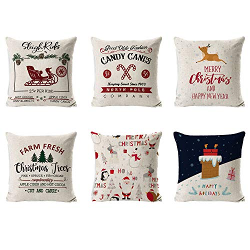 6 Piezas Fundas Navideñas para Cojines,Fundas Cojin Serie De Navidad,Almohada de Navidad Covers,Algodón Lino Throw Pillow Case Funda de Almohada,Funda de cojín de Navidad,45cm x 45cm (white)