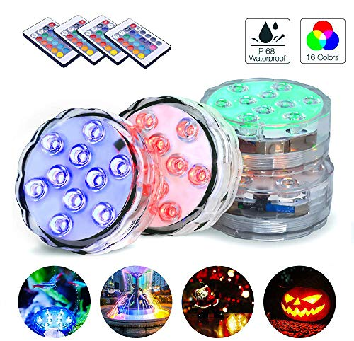 Submersible LED Lights, 4 Packs Waterproof Underwater Lights, Bath Lights with Remote Control, RGB Pond Light, efx Led light for Aquarium,Vase Base,Hot Tub,Swimming Pool and Party Decoration