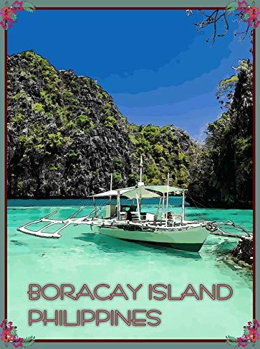 Letrero retro de hojalata de estilo nostálgico, de la isla Boracay, de las Islas Filipinas, de estilo vintage, para bar, cocina, cueva, cafetería, cafetería, decoración de pared (20 x 30 cm)