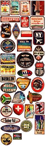 Honch Vinyl-Aufkleber im Vintage-Stil-Stil, für Reisen, Stadt, Land, 36 Stück, Koffer-Aufkleber für Laptop, Stoßstange, iPad, Helm, Schiene, Auto, Gepäck, Wasserflasche