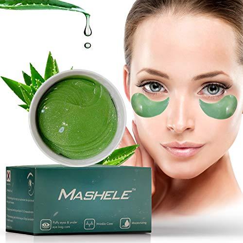 MASHELE Korean 60pcs Aloe Vera Hyaluronic Acid Collagen Under Eye Gel Patches Mask, Treatment for Puffy Eyes, Dark Circles, Anti Wrinkle Pads, Moisturizing for Women and Men (60pcs patches aloe vera)