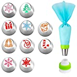 Christmas Flower Frosting Piping Nozzles, 10 Piece Christmas Decoration Icing Russian Pipe Cake Decorating, Icing Nozzles Cake Decorating for Christmas Cake Decorations