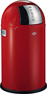 Wesco Pushboy Junior - German Made - Push Door Trash Can, Powder Coated Steel, 5.8 Gallon / 21 L , Red