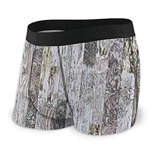 Herren Boxer Slips, pastellfarbene Eichenholzbretter eines Bauernhauses im Land Natürlicher Lebensstil Größe L.