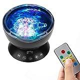 Dpofirs Mini Reproductor de Música Portátil con Proyector de Luz Nocturna, Mini Proyector de Sobremesa con 7 LED Altavoz de Sonido Estéreo, Proyección de Color del Océano, Regalo para Niños
