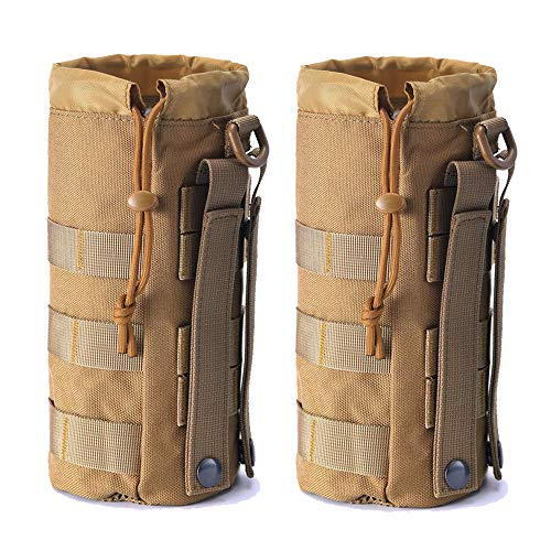 Upgraded Sports Water Bottles Pouch Bag, Tactical Drawstring Molle Water Bottle Holder Tactical Pouches, Travel Mesh Water Bottle Bag Tactical Hydration Carrier (Tan-2Pack)