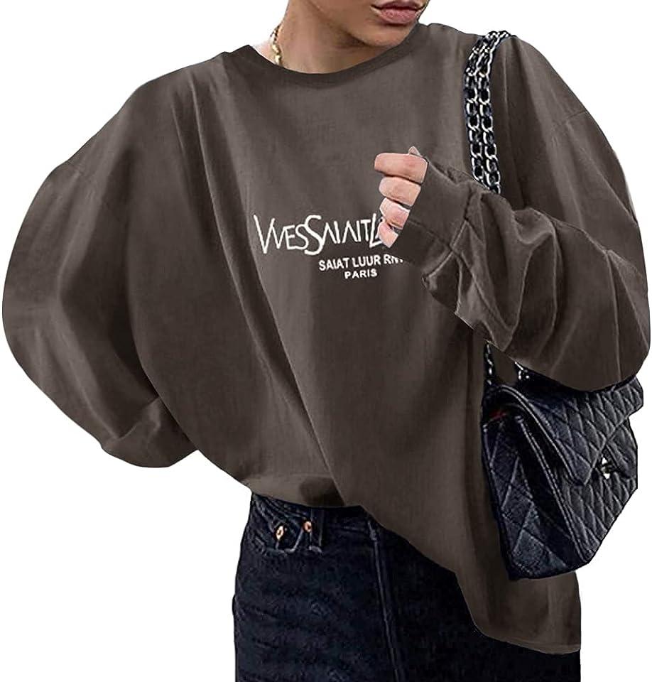 Sweatshirts Für Damen Lange Ärmel Spleißen Pullover Winter Rundhals Vintage Streetwear Oversized Farbstoff Drucken Mädchen Sportbekleidung Casual Top Chic Hoodie
