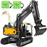 VOLVO RC Excavator Metal Shovel Remote Control Excavator 17 Channel 1/16 Scale with 2 Batteries Rc Toy Construction Truck 2.4Ghz Tractor Vehicles Toy with Lights and Sounds for Kids