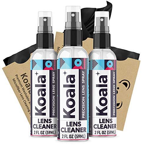 Koala Eyeglass Lens Cleaner Spray Kit | American Made | 6 Ounces + 3 Koala Cloths | Streak and Alcohol Free | Carefully Engineered Glasses Cleaner | Safe for All Lenses