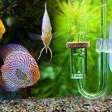 Pssopp Aquarium CO2 Diffuser Acryl Transparent CO2 Zerstäuber U-Form CO2 Diffusor mit Saugnapf für DIY CO2 Aquarienpflanzen System