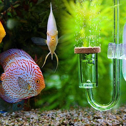 Pssopp Aquarium CO2 Diffuser Acryl Transparent CO2 Zerstäuber U-Form CO2 Diffusor mit Saugnapf für DIY CO2 Aquarienpflanzen System