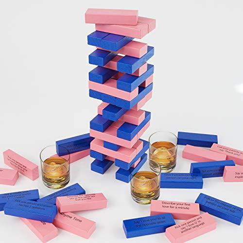 Lewo Drinking Games 54 Piezas Juegos de Mesa Torre Juegos de Pareja Entretenidos Regalos de Fiesta de San Valentín