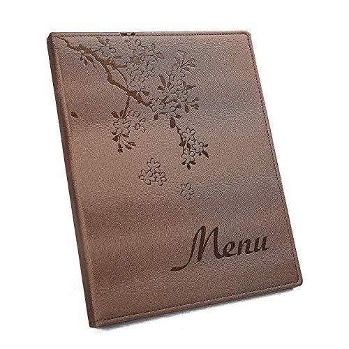 A4 Menu Covers/Kookboeken Inbegrepen 6 Poly Pockets, Gratis Printing menu met Logo 1 Pack 25 menu's, Gift 6 Printing Papier, Gratis Verzending A4(210-297MM) Koffie Goud