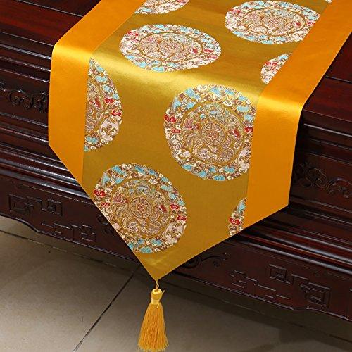 Neoklassische Quasten Tischläufer Brokat Esstisch Kissen ( Farbe : Yellow b , größe : 33*230cm )