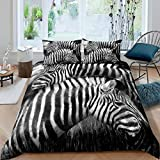 Feelyou Zebra Print Duvet Cover Gray Wild Animal Bedding Set 3D Wildlife Comforter Cover for Kids Adults Room Decor Lightweight Black White Stripe Bedspread Cover Queen Size with 2 Pillow Case