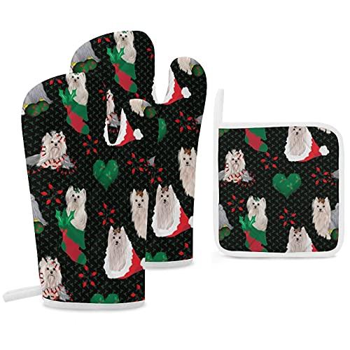 Set di 3 guanti da forno e presine resistenti con guanti in poliestere antiscivolo per barbecue, per cucina, cucina, cottura, cottura, griglia, Yorkie, pannello natalizio abbinato