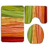 yuiytuo Alfombrillas de baño de 3 Piezas Color Ribbon Thick Bathroom Rug Mats Set 3 Piece Shower Bath Rugs Contour Mat Lid Cover