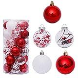 Zinsale 6cm/2.36' 30Pcs Adornos para árboles de Bolas de Navidad de Navidad de plástico inastillables Decoraciones para árboles Adornos Colgantes Decoración para Festivales Fiesta (Rojo + Blanco)
