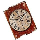 Veemoon Estilo Vintage Casa de Campo Colgante de Pared Reloj Decoración Rústica Sala de Estar Centro de Mesa Acento de Madera Casa de Campo Reloj de Cocina Reloj de Campo