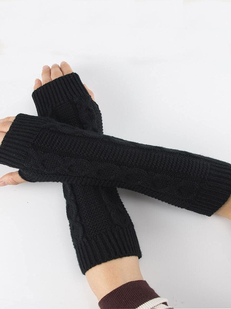 ZZTT Autumn and Winter Gloves Plain Knitted Gloves Warm and Comfortable Gloves for Men or Momen (Color : Black, Size : One-Size)