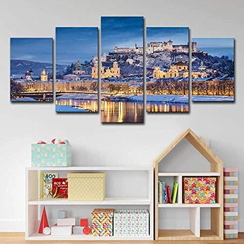 Stampa su Tela 5 Pezzi Wall Art Pittura Moderna Immagine Soggiorno Camera da Letto Divano TV Sfondo Palestra Decorazione Domestica XXL Inverno Salisburgo Austria