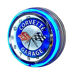 Corvette Vintage Neon Clock Design - Large 19 inch Diameter Double Neon Clock