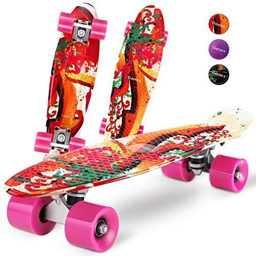 """Gonex Skateboard für Kinder, 22\"""" Mini Cruiser für Mädchen Jungen Anfänger 55cm Vintage Retro Komplettboard ABEC-7 mit PU Rollen, Graffiti Rosa"""