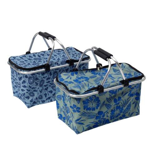 Ribelli Tragekorb, Einkaufstasche mit Henkeln, Tragetasche in Zwei trendigen Designs, 48 x 28 x 24cm, Henkelkorb mit Abdeckung, blau Gemustert