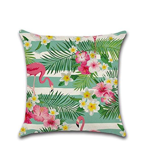 Excelsio - Funda de cojín de flamenco rosa tropical para sofá, cama, sala de estar, dormitorio, decoración del hogar, personalizable, cuadrada, algodón, lino, fundas de cojín 45 x 45 cm