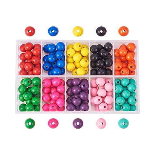 PandaHall Elite 1 Box (ca. 150 Stück) 12mm gefärbte umweltfreundliche runde Holzperlen 10 Farben mit Box für DIY Crafting Schmuckherstellung