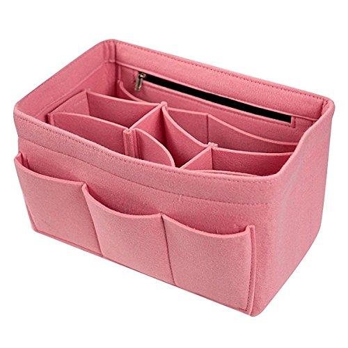 Yanshan Feutre Insert Sac Multi Poches Cosmétiques Sac À Main Bourse Organisateur Titulaire Maquillage Voyage Zipper (Color : Color Pink, Size : XL)