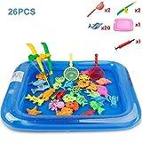 Juego de juguetes de piscina de pesca magnética para bañera de mesa de agua para niños Juguete de fiesta para niños con piscina inflable, red de varilla de poste, juego de animales marinos de peces