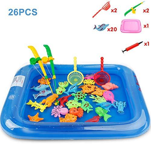 26 Stück Magnetisches Angelspielzeug-Spielset Badewannenspielzeug Baby, Badespielzeug, Bad Angeln Spielzeug Mit Schwimmenden Fisch, Magnetic Angelrute Und Net - Baby Badewanne Spielzeug Im Badewanne