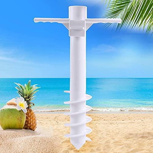 DELITLS Soporte de anclaje de arena para paraguas de playa con tornillo de 5 espirales, herramienta de jardín universal resistente
