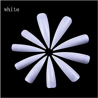 100Pcs/Lot Nails Salon Stiletto Long False Nails Tips Manicure Artificial White/Clear/Natural Full Cover Tips (Color : White)